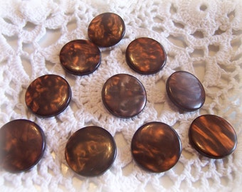 10 SHIMMERY BROWN Shank VINTAGE Buttons