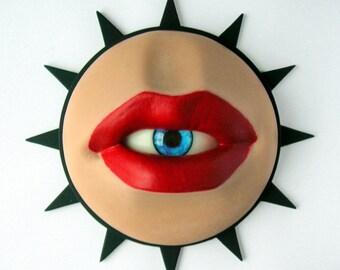 Mouth Eyeball wall sculpture, Lips eye