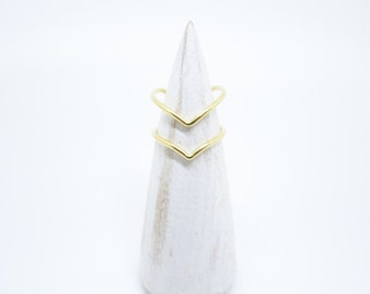 Double Chevron 14K Solid Gold ring,stack gold chevron ring,double ring,Arrow ring,Dainty Ring,Boho ring,V shape ring.Open Ring,made to order