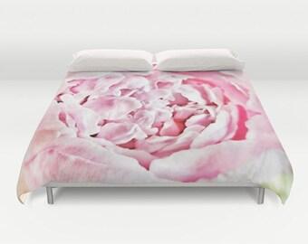 Peony Duvet Cover, Peony Bedding, Flower bedding, Pink, Nature Comforter Cover, Beach, Summer, Flower Duvet Cover, Twin, Full, Queen, King