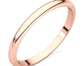 Solid 10K Rose Gold Polished Domed Engagement, Anniversary or Wedding Band - 2mm Wide - Custom Ladies Ring Size - Regular Fit - Gift for Her
