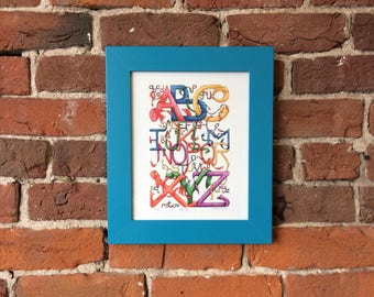 ABC - Limited Edition Alphabet fine art print for childrens bedrooms or the classroom in two sizes - Frame not included