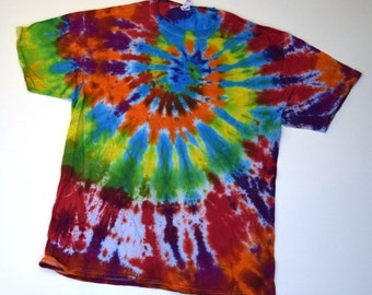 Rainbow Spiral OOAK Tie Dye T-Shirt  (Fruit of the Loom Heavy Cotton HD Size L) (One of a Kind) (On Sale)