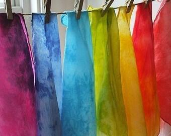 Hand dyed Rainbow Playsilks 11 x 11. Set of 7. Peek-a-boo silks baby, Toddler Tea party Fairy Dollhouse Birthday gift. Natural Kids and Toys