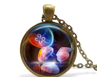 Rainbow Jellies - Jellyfish Pendant, Necklace or Key Chain - Choice of 4 Colors