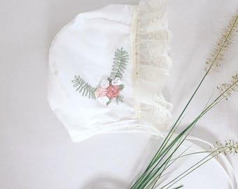 Camellias- Embroidered bonnet // baby bonnet/cotton bonnet. 9-12 MONTHS