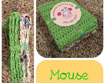 Crocheted Dishcloths-Mouse