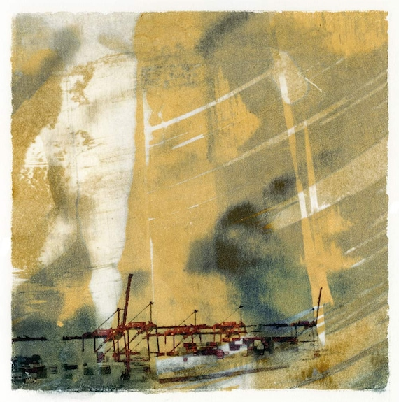 Yellow Sky Harbor, industrial cranes, waterfront scene, cityscape, wall art,urban decay, seattle art, modern art, monoprint, yellow, texture