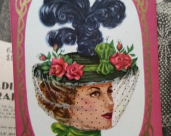 ON SALE Gorgeous Vintage French Victorian Lady Playing Cards Mid Century Hat Feather Fashion