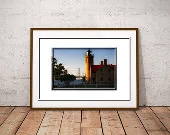 Mackinac Lighthouse-Michigan Lighthouse-Lighthouse Print-Landscape Photo-Fine Art Print-Horizontal Print-Mackinac Bridge-Dusk Photograph