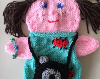 Knitted Handpuppet, when shooting your hobby is