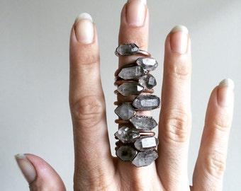 Tibetan crystal ring | Raw anthraxolite crystal ring | Double terminated quartz ring | Crystal quartz ring | Rough stone ring |