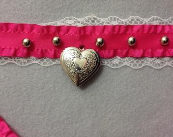Silver Heart Locket & Pink Ribbon Collar