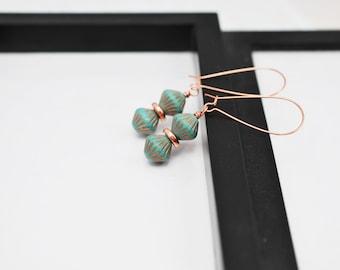 Turquoise Earrings, Teal Earrings, Gift for Her, Czech Glass, Beaded Earrings, Copper Earrings, Drop Earrings, Copper Jewelry, Long Earrings