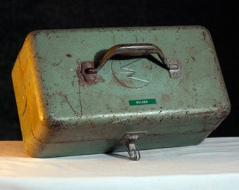 Vintage Metal Tool Box Tote Craft Carrier Solder J.C Higgins