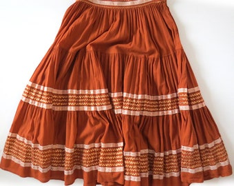 "Vintage 50s PATIO Skirt Rust & Copper M – 28"" waist"