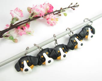 Greater Swiss mountain dog stitch markers, Greater Swiss gifts charms polymer clay knitting accessories dog charm pet gift knit knitters