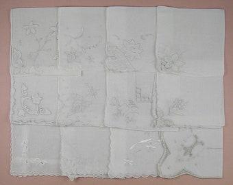 Vintage Hanky Lot,Wedding Hanky Lot,One Dozen White Wedding Vintage Hankies Handkerchiefs (Lot #84)