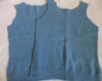 Felted Wool Nylon Blend Sweater Remnants Blue Metallic Recycled Upcycled Fabric Material