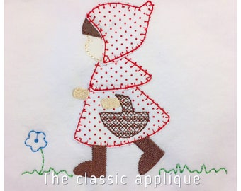 fall girl little red riding hood blanket stitch applique vintage style design file for embroidery