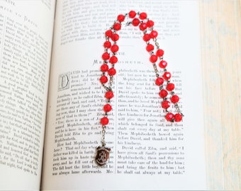 Vintage Prayer Beads 10 Inch Red Faceted Beads with Emblem Spiritual Gift