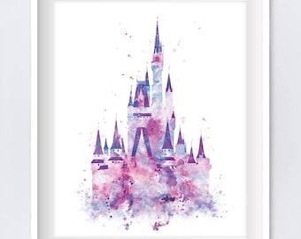 Cinderella Castle Art Watercolor Print, Princess Castle, Disney Castle Wall Art Disney Gift Baby Disney World Nursery Decor Digital Download
