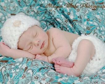 Heavenly White Diaper Cover Hat Set