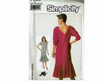 Pullover Dress with Flounce Uncut sewing pattern Sizes 6 8 10 Jiffy Simplicity 7845