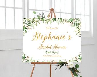 Bridal Shower Sign,  Bridal Shower Decorations, Bridal Shower Welcome Sign, Bridal Shower Poster, Greenery Bridal Shower Sign, Custom Design