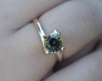 GREEN SAPPHIRE ring, handmade parti sapphire, gold sapphire engagement ring, natural yellow green sapphire ring, ethical conflict free gem