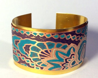 Cuff Bracelet, Mixed Metal Cuff - Free Domestic Shipping