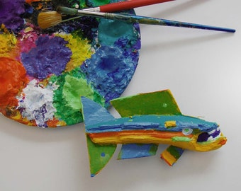 FISHeFISH Painted Wood Chip and Recycled Material Ready to Hang Fish Art