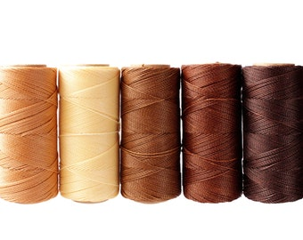 Linhasita - Macrame Cord, Jewelry Thread, Waxed Polyester Cord, Macrame Thread, Macrame String - Set of 5 Colors, 10 meters each color