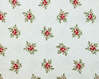 Moda, Under the Mistletoe, Aqua Blue with Red Posies by Three Sisters Quilting Fabric Sold by the HALF Yard
