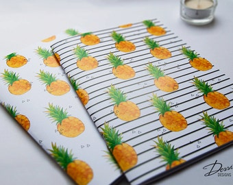 A5 Notebooks - Watercolour Pineapple Print with 40 blank pages