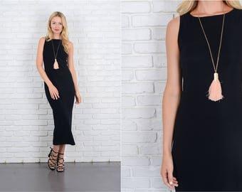 Vintage 80s 90s Black Maxi Dress Sleeveless Stretch knit XS Small S 10024