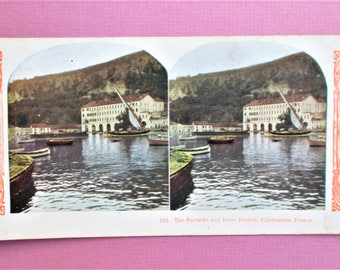 Villefranche France Antique Stereograph Card Inner Harbor Stereo View Card Color World Series #135 Kawin Vintage Stereoview Card 1905