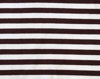 Chocolate Brown & White Yarn Dyed Stripe - 10oz cotton/lycra knit fabric - 95/5 cotton/spandex jersey knit - 3/8 Inch Stripe - By The Yard