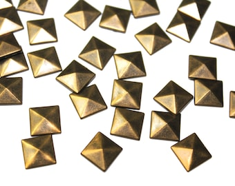 Iron On Copper Bronze Pyramids Studs, Spike Rivets Studs for Fashion Crafts