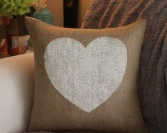 Burlap Pillow - Valentine's Pillow / Heart Pillow / Valentine Candy Pillow