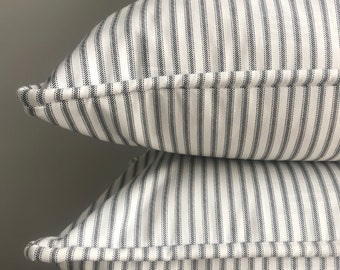 Black and White Ticking Stripe Pillow Cover