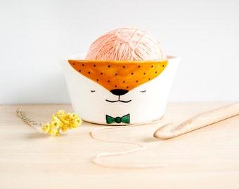 Ceramic yarn bowl with face, Yarn bowl cat fox, Yarn bowl large ready to ship, Knitting bowl, Crochet bowl, Ceramics & pottery, Ceramics