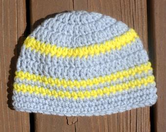 Striped Gray Hat, Baby Hat, Infant Cap, Baby Boy Item, Hat for Girls, Toddler Crochet, Baby Stuff, Yellow Stripe Hat, Grey Beanie, Boy Hat