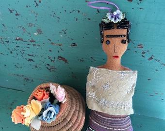 Frida Kahlo Doll - Frida Kahlo Art Doll - Frida Doll - Folk Art Inspired Ornament - Frida Ornament - Folk Art Doll - Holiday Ornament