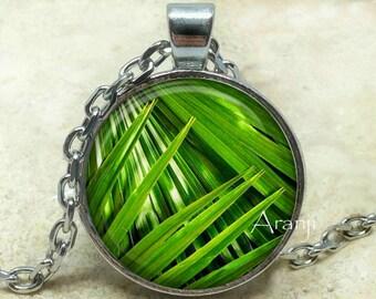 Palm branches art pendant, palm necklace, palm, palm frond necklace, palm branch pendant, tropical palm green pendant, Pendant #PL130P