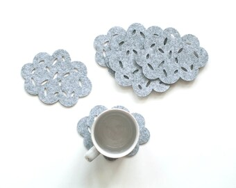 Felt Coasters / Set of 4 Coasters / Set of 6 Coasters / Clouds / Gray Coasters