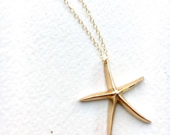 Starfish Necklace, 14K gold filled delicate and dainty star charm layering necklace, simple gold necklace