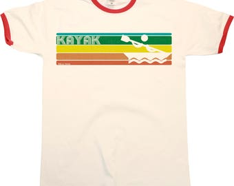 Retro KAYAK Strip Mens RINGER T-Shirt Kayaking Fashion New