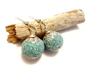 Turquoise Blue Earring, Bauble Earring, Boho Earring, Indonesian Sparkle Beaded Earring