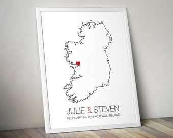 Ireland - Modern Style Personalized Map Art Print - Custom Map Wedding guest book Wedding gift Bridal shower gift